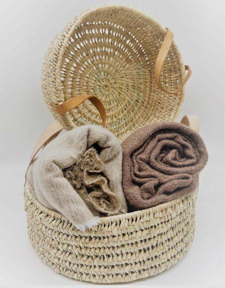 Panier rond avec anses en cuir beige nude - Small