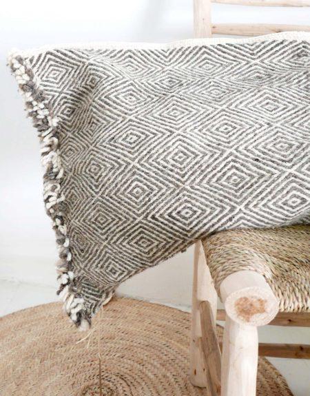 Housse de coussin de sol Kilim Shadoui gris - XL
